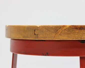 Refined Wood Top Up-Cycled Red Painted Metal Base Stool Table READY TO SHIP