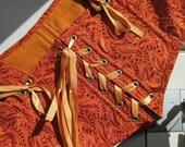 Orange eyelet XL Cropped Belly Dance Corset top bellydance burlesque Adjustable OOAK