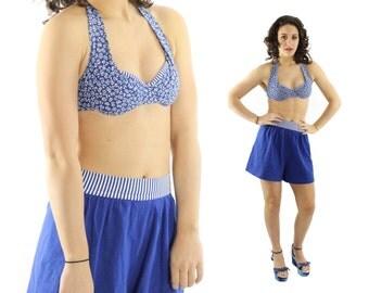 Vintage 80s Catalina Bikini 50s Style Halter Top Shorts Bottoms Indigo Knit Womens Summer Swimwear Fashion 1980s Size Small S Medium M