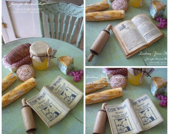 Miniature Open Vintage Cookbook for Dollhouse 1/12 Scale