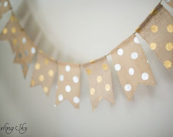 Silver and Gold Polka Dot Banner, Silver & Gold Christmas Banner, Holiday Decor, Christmas Banner