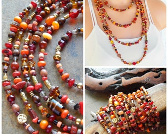 Multistrand necklace, beaded wrap bracelet, statement necklace, extra long necklace,red orange and brown, layering necklace, xxxl jewelry