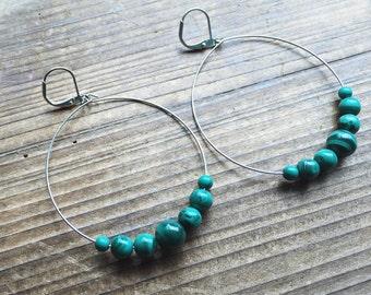 Malachite Gemstone Silver Hoop Earrings Green Gemstone Earth Gemstone Jewelry Handmade in Indiana By Rana Salame Jewelry Gemstone Hoops