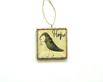 Crow ornament, country primitive ornament, Hope, black crow decoration, glass ornament, crow photo, whimsical art Christmas ornament