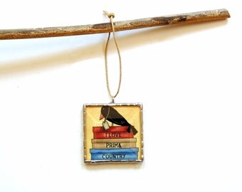 Country primitive ornament, I love prim, black crow ornament, Christmas ornament, rustic decor, red blue, stained glass, cubicle decor