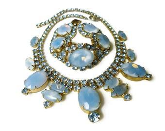 Vintage Opaline Blue Rhinestone Necklace Bracelet - Juliana Style, Vintage Necklace, Vintage Bracelet, Blue Rhinestone, Vintage Jewelry