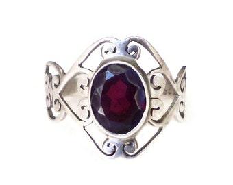 Garnet Sterling Ring, Sterling Silver Ring, Fancy Scrolled, 925, January Birthstone, Vintage Jewelry, Size 7.5 Adjustable