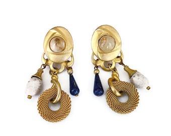 Robert Rose Earrings, Vintage Earrings, Gold Tone, Mesh, Art Glass, Quartz Stone, Boho Chic, Chandelier Earrings, Vintage Jewelry
