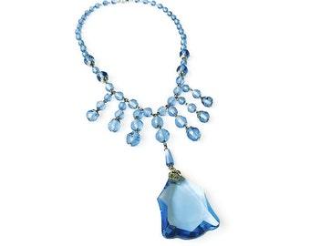 Art Deco Necklace, Sapphire Blue, Glass Beads, Fringe, Vintage Bride, Statement Necklace, Antique Jewelry