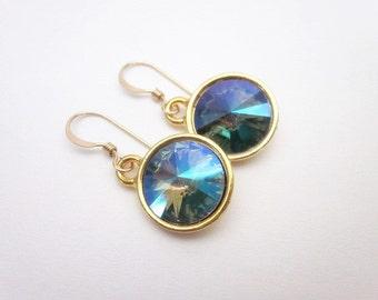 Paradise Shine Crystal Earrings -- Swarovski Dangles -- Gold Green Purple Earrings -- Green & Purple Drop Earrings --Unique Crystal Earrings