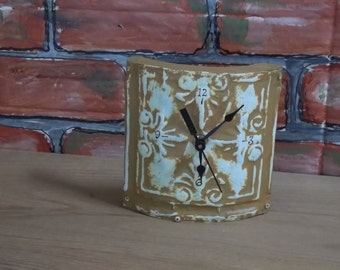 Slight CURVED FACE DESK Clock in old ceiling tin in a Gold like color