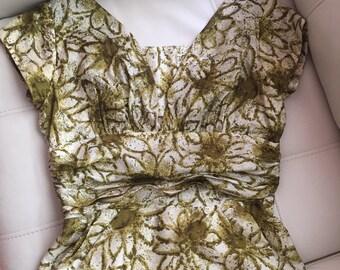 1950s Silk Dress / Vintage Fifties Cocktail Dress / Lou-Ette of California Silk Wiggle Dress / Sexy Date Night Dress