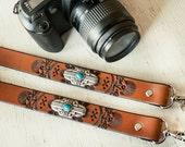 Leather Camera Strap - The Santa Fe - Southwestern Silver Concho Faux Turquoise Stones - Zia Crossed Arrows - Mesa Dreams - Made to Order