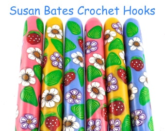 Susan Bates Polymer Clay Covered Crochet Hook, Strawberries and Flowers