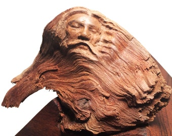 Small Infinity Old Man Elder Woodland Spirit Wooden Carving Sculpture 2014