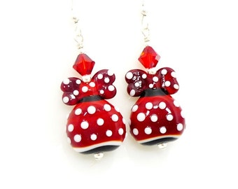 Red and White Polka Dot Earrings, Lampwork Earrings, Glass Earrings, Beadwork Earrings, Unique Earrings, Minnie Mouse Inspired Dress Earring