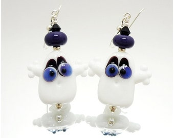 Ghost Earrings, Halloween Earrings, Lampwork Earrings, Glass Bead Earrings, Halloween Jewelry, Spooky Earrings, Glass Earrings,Cute Earrings