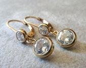 Gold CZ Diamond Dangle Earrings. Cubic Zirconia 14K Yellow Gold Filled Drop Earrings. Lever Back Earrings