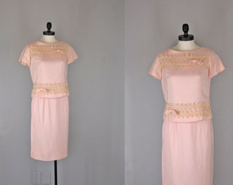 Vintage 1960s Dress Set l 60s Pink Skirt and Top with Decorative Lace