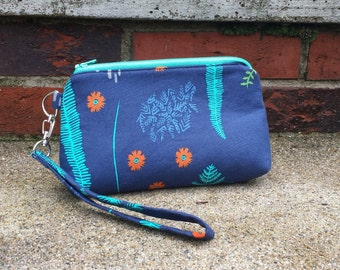 Navy blue nature leaf clutch / wristlet / bag