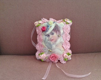 7 inch lavender scented sachet with image of Victorian lady with hat
