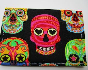 Sugar Skulls Wallet, Credit Card Wallet, Grateful Dead, Calavera, Day of the Dead, Business Card Holder, Small Wallet, Gift Card, Fabric