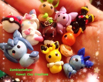 Kawaii Eevee Evolution Pokemon Inspired Clay Charms