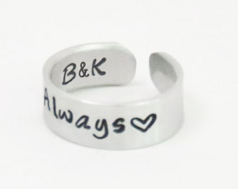 Couple promise ring Always ring with initials - Personalized commitment ring relationship ring Valentine gift - Boyfriend girlfriend ring