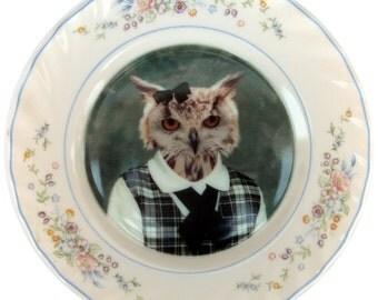 "Jill, school portrait - Altered Vintage plate 7.75"""