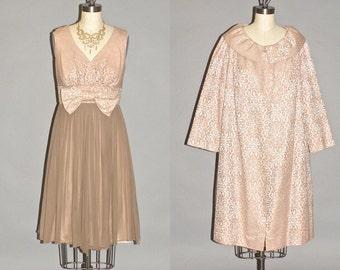1960s Party Dress and Evening Coat, 60s Cockail Dress, Vintage Chiffon Bridal Dress Suit, Sandi Monica CA