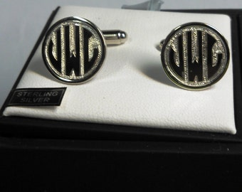 Sterling Silver Cufflinks, with Personalized HAND Relief Engraving