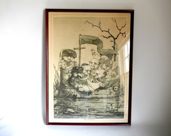 Vintage 1960's Ship of Fools Military / Nautical Print in Frame Under Glass