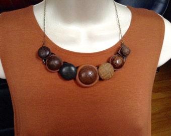 Vintage wood button necklace