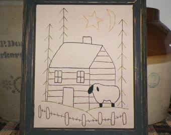 UNFRAMED Primitive Sheep Stitchery Picture Log Cabin Rustic Woods Country Home Decor Decoration 8 x 10 Pine Trees Nature Farm wvluckygirl