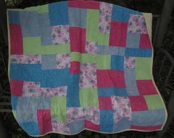 Baby Girl Quilt Made with Ballerina Fabrics, Flannel Quilt, Toddler Quilt, Baby Shower Gift, Stroller Quilt, Pink, Mint, Blue Quilt
