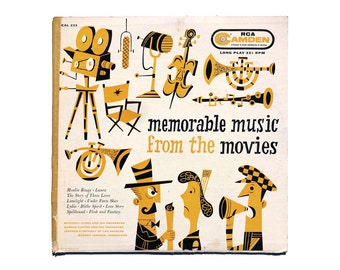 """Jim Flora record album design, 1956. """"Memorable Music from the Movies"""" LP (yellow colorway)"""
