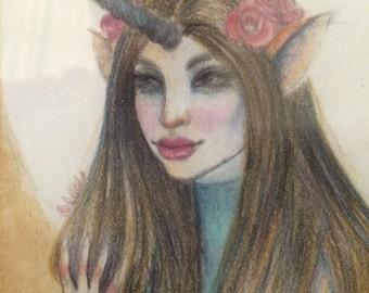 Unicorn Girl, Original Art, original illustration, Framed Art, KimTurnerArt, Fine art, australian artist