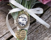 Photo Charm with Heart, Bouquet Photo Jewelry, Wedding Bouquet Photo Charm, Quote Heart, Memorial Photo Charm, Bronze Heart Photo charm