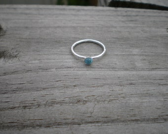 Swiss Blue Topaz Stacking Ring, Sterling Silver, Size 8