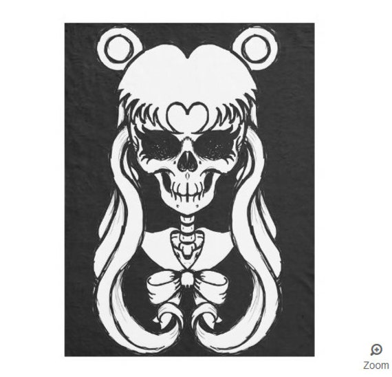 Sailor Moon Skull fleece throw blanket