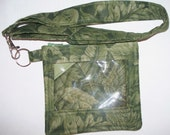 Green Leaves ID Holder with Lanyard,Pass Holder,DisneyLand Amusement Park,or Leaves Quilted Coin Purse,Key Chain, Wallet Security Pouch