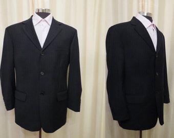 Vintage Studio Italia Made in Australia Black and Grey Pinstripe Men's Jacket Blazer Wool Mix