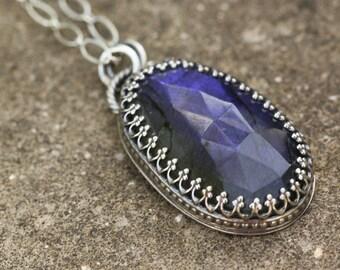 Gorgeous Labradorite Necklace Pendant, Sterling Silver, Big Necklace
