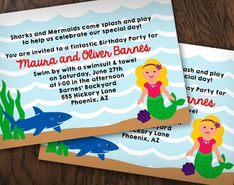 SHARK and MERMAID Printable Ocean Birthday Invitation