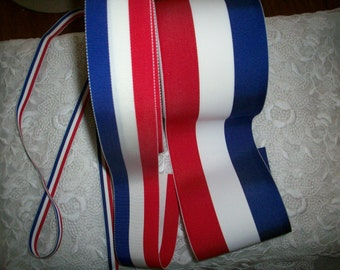 1 yard of Vintage red/white/blue striped millinery ribbon