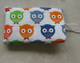 blue orange green owl print padded makeup jewelry bag