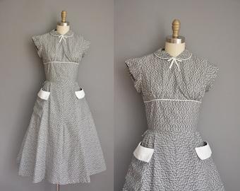 vintage 1950s dress/50s dress/ black and white cotton print dress