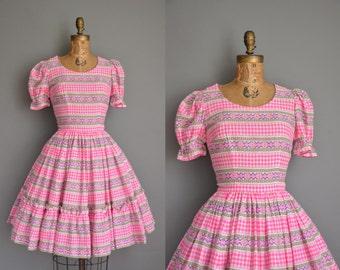 vintage 1960s dress/60s dress  pink gingham cotton dress