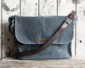 Large Waxed Canvas Finch- Slate, Waxed Canvas Messenger Bag, Crossbody Bag, Laptop Bag, Purse, Handbag, Peg and Awl