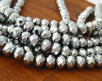"8"" 36pcs Silver 8mm designer crystal full coat rondelle Beads faceted glass"